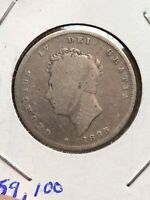 1825 GREAT BRITAIN  One Shilling .925 Silver George IV U.K. Coin