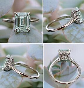 3.04 Ct Vs2=Emerald Cut Blue White Moissanite Diamond Engagement 925 Silver Ring