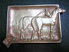ELEGANT FRENCH ANTIQUE BRONZE TRAY ASHTRAY HORSES
