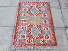 Kilim Old Traditional Hand Made Afghan Oriental Red Blue Wool Kilim 122x79cm