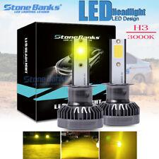 Mini H3 LED Headlight Fog Light Bulb DRL 110W 22000LM Kit 3000K Golden Yellow