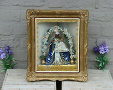 Antique rare French Home Wall framed Chapel with wax madonna child