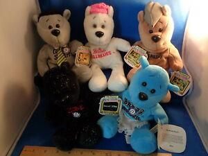 "TV TUNE BEARS - 1999 TRA LA LA / MUSIC BEARS (5) 7"" PLUSH BEAR FIGURES ! LQQK !"