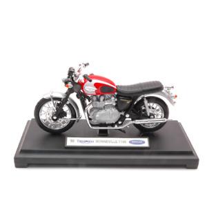 TRIUMPH BONNEVILLE T100 2002 1:18 Welly Moto Die Cast Modellino