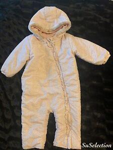 BABY GIRL PRAM SUIT SNOWSUIT ANIMAL PRINT FLEECE LINED-18/24 MONTHS-LOVELY CON'D