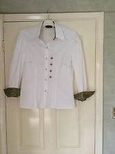 Vintage 1990s Verse white cotton blouse shoulder pads, lovely detail size 40 S/M