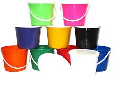 10  BUCKETS LIDS  BEACH  SAND PLASTIC PAILS MIX OF COLORS  MFG. USA LEAD FREE