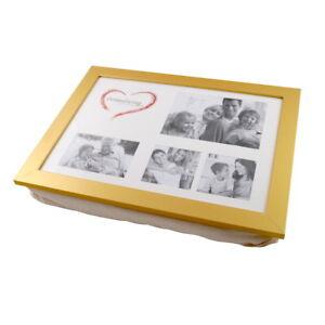 Knietablett mit Kissen und Fotorahmen Laptop Frühstück Kissentablett P-108 gold