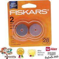 Genuine Fiskars 28mm Rotary Blades - 2 Pack - Razor-Edge Replacement Blades