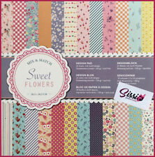 Maxi lot 24 pages cardstock recto verso fleurs vichy pois liberty 30x30cm sweet