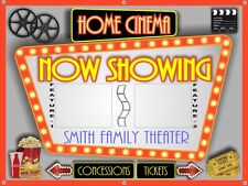 """""""NOW SHOWING"""" PERSONALIZED HOME THEATER MOVIE CINEMA BANNER SIGN ART 48"""" X 36"""""""