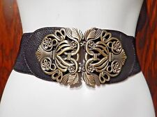 BLACK & BRONZE ELASTIC BELT waist stretch wide clasp metal steampunk goth 7Z