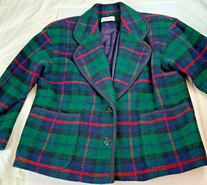 Talbots Petites Plaid Blazer Christmas Sz 8P Red Green black Wool blend vtg