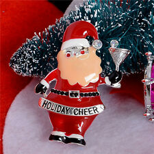 *UK* DRUNKEN SANTA / FATHER CHRISTMAS BROOCH PIN HOLIDAY CHEER RED SILVER DRINK