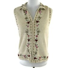 Classic Elements Womens Sweater  Floral Embroidered Sleeveless Size Small