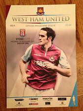 West Ham V STOKE CITY-ha giocato 19th NOVEMBRE 2012-programma Premier League