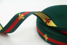 "1""Grosgrain Ribbon Green Bee Red Striped Ribbon Trim Green And Red Colors! 1"""