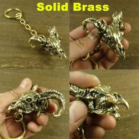 Big Size Solid Brass Sheep Head Keychians Punk Biker Key Chain Pendant