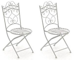 #LA94500/1106 2x Stuhl Indra antik weiß Gartenstuhl Terrasse Metallstuhl Eisen