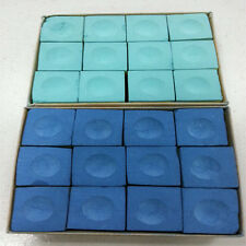 One Dozen (12 pieces) BLUE Chalk Billiard Pool Table Multicolor FT