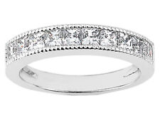 1.00ct Ring Princess Cut Channel Set Natural Diamond Wedding Band 14k White Gold
