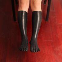 Men Women Unisex latex stockings Knee-High rubber Five 5 toes socks size S M L