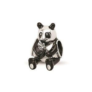 Reflection Beads Sterling Silver Antiqued Black Enameled Mama Panda Bead