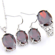 3 Pcs Natural Fire Red Garnet Gemstone Silver Pendant Earrings Rings Size 7 8 9