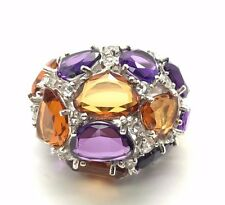 Sterling Silver 925 Conjac Citrine CZ Chunky Cluster Cocktail Ring Sz 6.75