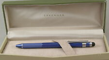 Levenger L-Tech Blue & Silver Ballpoint Pen w/Stylus - New In Box