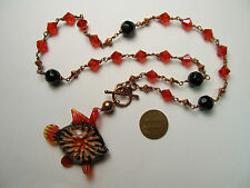 "Handmade COPPER and Red Black Glass Fish Pendant Toggle Clasp 19"" Necklace"