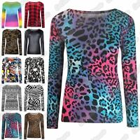 New Ladies Long Sleeve Printed Casual Round Neck Stretchy Tee Basic T-Shirt Top