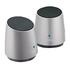 2 x iHome iHM89 Mini Portable Rechargeable Speakers For iPhone MP3 + LED Silver