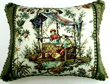 """Schumacher, """"Chinese Rustic"""" Chinoiserie Toile accent Pillow W/ insert"""