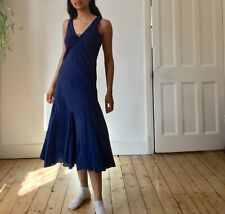 Vintage 90's 00's EAST Cotton Summer Dress 8 10  Blue Boho Hippy Ruched Milkmaid