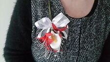 Ladies Red & White Buttonhole