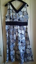 Navy Blue And White Cotton Summer floral Dress