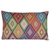 "Geometric Turkish Kilim XL Rectangular Cushion. 23x15"". Heavyweight Tapestry"