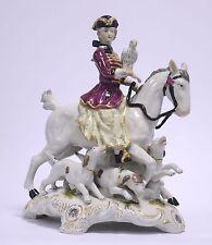 Porzellan Figur Falkenjagd Falknerin zu Pferd mit Hunden Jagd Falconer