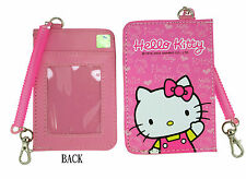 New Sanrio HELLO KITTY ID CARD Ticket HOLDER , Name Tag w/ stretchy Band 1 pc