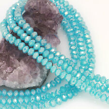 """16"""" 6mm Chinese Crystal Glass Beads Faceted Rondelle Baby Blue Agate AB Strand"""