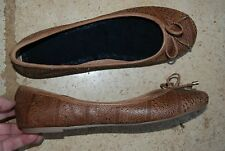 Dark Brown Leather ALDO Flats w/ Cut Out Designs Perforations & Bow 9