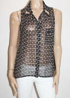 Ally Brand Sail Boat Print Chiffon Sleeveless Shirt Top Size M BNWT #SF99
