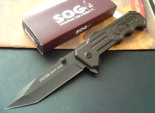 SOG Assisted Opening Embossed aluminum Folding Lock Tanto Point  Knife Saber
