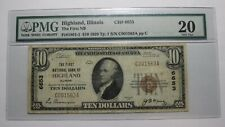 $10 1929 Highland Illinois IL National Currency Bank Note Bill Ch #6653 VF! RARE