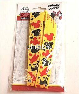 Disney ID Badge Mask Holder Pin Trading Lanyard Mickey Mouse Minnie Goofy Fab 5