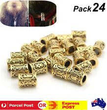 24Pcs Norse Viking Runes Beads For Bracelets Necklace Dreadlock Hair Beard Decor