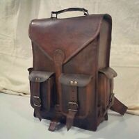 Real genuine leather Men's Back pack Bag laptop Satchel briefcase Brown Vintage