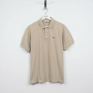 AE89 Vtg Lacoste Polo Mens Beige Short Sleeve Cotton Shirt Size 5 L