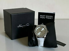 NEW! KENNETH COLE RHINESTONES-ACCENTED WHITE GENUINE LEATHER STRAP WATCH $115